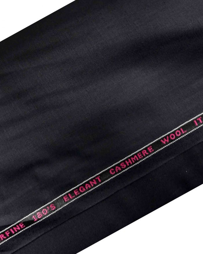 Black Suiting Fabric Cashmere Wool Made In Italy